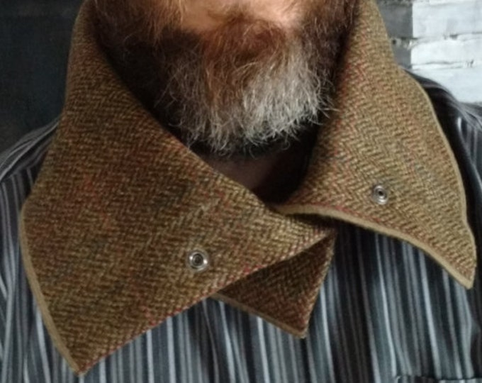 Irish tweed neck warmer,cowl-neck gaiter-snood - FREE SHIPPING - 100% wool - forest green herringbone/over check-  Handmade in Ireland