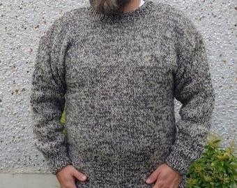 Authentic Irish Fisherman Sweater-FREE SHIPPING- white&gray-100% raw organic wool-hand spoon yarn-undyed-unprocessed-Hand knitted in Ireland