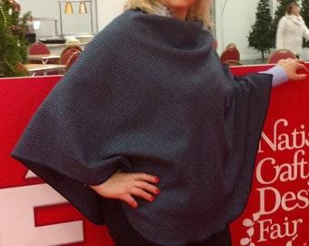 FREE WORLDWIDE SHIPPING - Irish tweed wool poncho, cape, shawl 3in1 - 100% new wool - navy & blue - ready for shipping - Handmade in Ireland