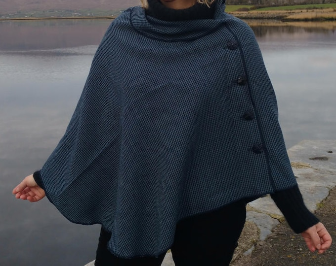 FREE SHIPPING - 3in1 - Irish tweed wool poncho, cape & shawl-100% wool-blue/navy houndstooth check- 2 shapes available - Handmade in Ireland