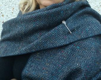 Irish tweed wool shawl - oversized scarf, stole -speckled  navy & blue herringbone - 100% wool -free pin - Handmade in Ireland