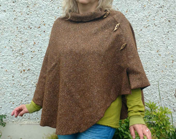 FREE SHIPPING -3in1- Irish tweed cape, poncho & shawl - 100% wool - brown melange - rounded or diamond shape - ready for shipping - Handmade