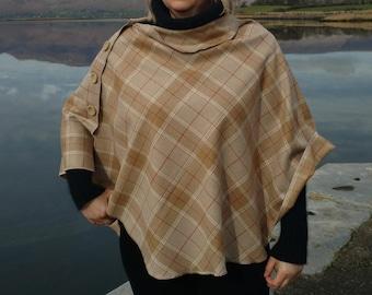 FREE SHIPPING -3in1 - Irish tweed wool poncho, cape & shawl-100% wool- beige,white,red tartan - rounded shape - Handmade in Ireland
