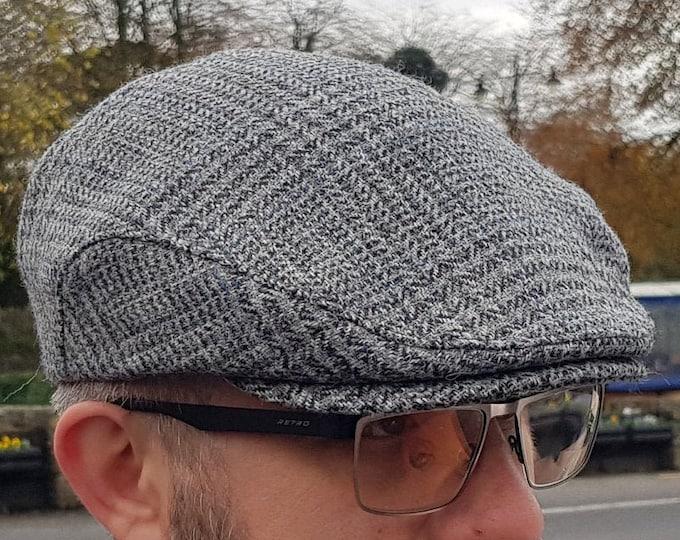 Traditional Irish tweed flat cap - grey/blue tartan , plaid check - Prince of Wales tartan - 100% wool -padded -  HANDMADE IN IRELAND