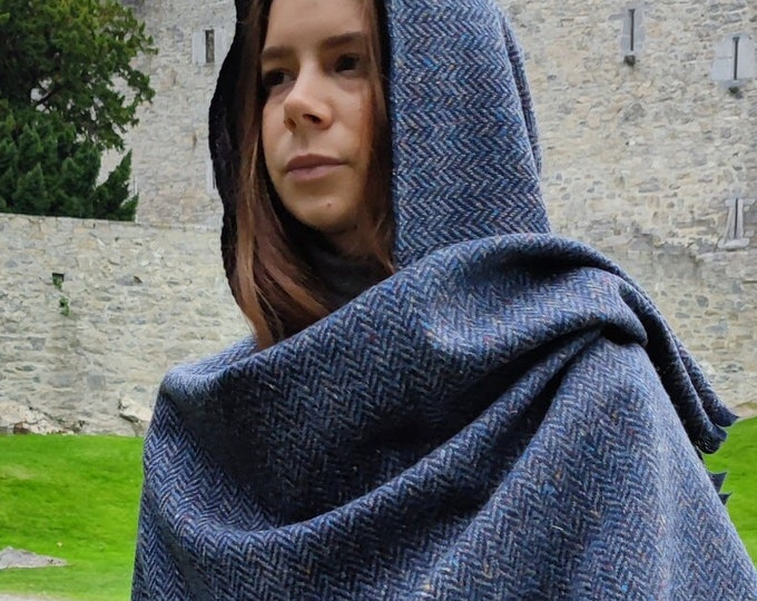 Hooded Irish Donegal Tweed Cape, Rectangle Cloak, Ruana - Speckled Denim Navy Herringbone - 100% Pure New Wool -Unisex - HANDMADE IN IRELAND