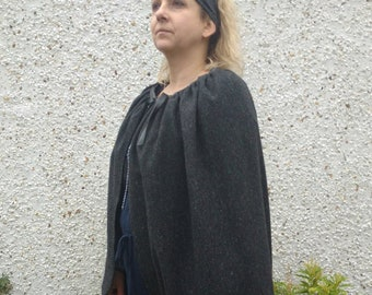 Medieval wool cloak - FREE WORLDWIDE SHIPPING - 100% wool - Irish tweed - charcoal melange - ready for shipping - Handmade in Ireland