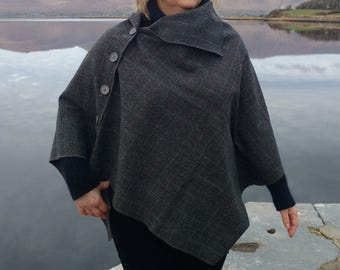 3in1-Irish tweed wool poncho,cape&shawl-100% wool-grey/black herringbone-brown+grey overcheck-2 shapes available -ready -HANDMADE IN IRELAND