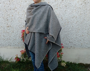 FREE WORLDWIDE SHIPPING -Irish tweed ruana, celtic wrap,cape,plaid, coat -gray&black herringbone-100% wool- woven wool - Handmade in Ireland
