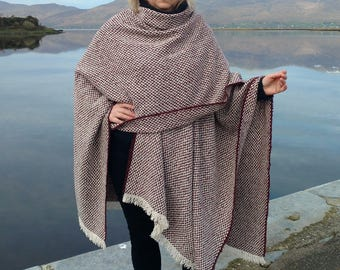 Irish woven wool ruana, wrap, cape, plaid - white/purple chevron -100% wool -woven wool -loose weave - Handmade in Ireland
