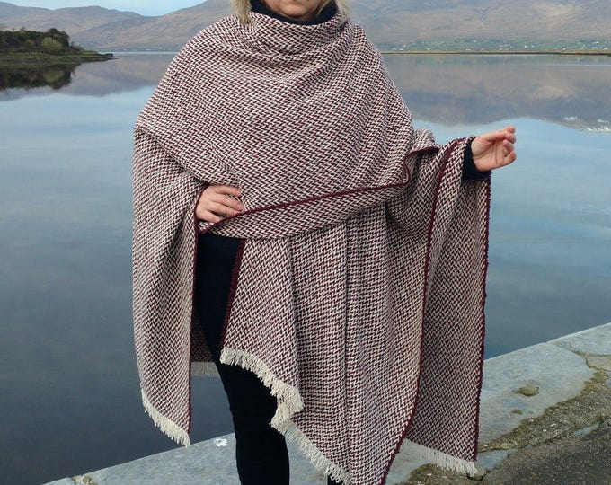 Irish woven wool ruana, wrap, cape, plaid - white/purple chevron -100% wool -woven wool -loose weave - Handmade in Ireland