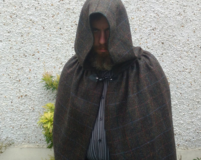 Hooded medieval 100% wool Irish tweed cloak-FREE WORLDWIDE SHIPPING-forest green/brown herringbone / orange/blue check - Handmade in Ireland