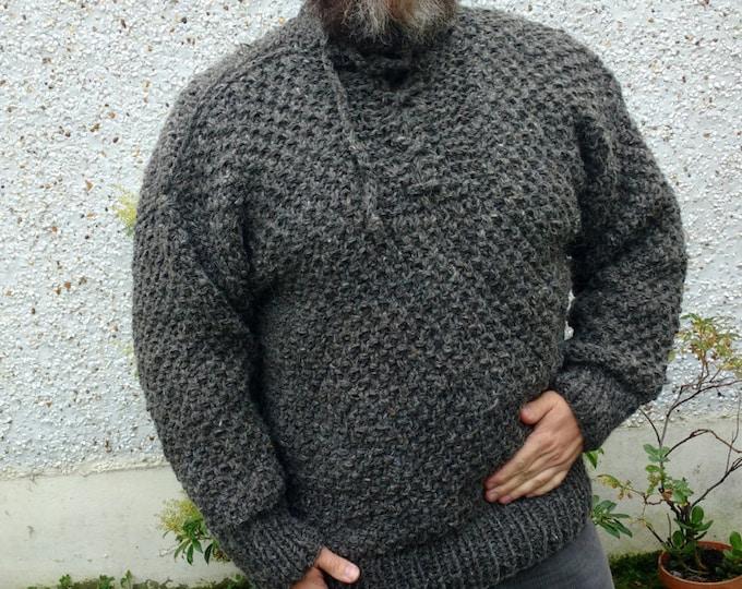 Irish Fisherman sweater/medieval sweater - grey - 100% raw organic wool - dragon scale - UNDYED - unprocessed - HAND KNITTED in Ireland