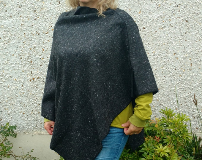 FREE WORLDWIDE SHIPPING - 3in1 - Irish tweed cape, poncho & shawl - 100% wool - charcoal melange - ready for shipping - Handmade in Ireland
