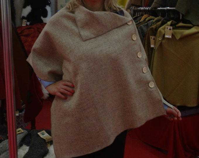 FREE WORLDWIDE SHIPPING - Irish tweed wool poncho, cape - 100%wool - undyed beige - very versatile -ready for shipping - Handmade in Ireland