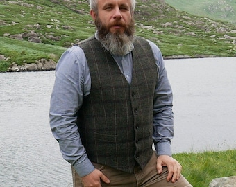 Irish tweed waistcoat - Peaky Blinders vest - green Irish tartan/plaid with blue/red check - 100% wool - lined - HANDMADE IN IRELAND