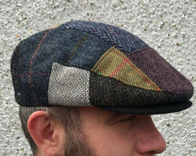 Traditional Irish Flat cap -FREE WORLDWIDE SHIPPING- handcrafted patchwork - Irish tweed - 100% wool -ready for shipping-Handmade in Ireland