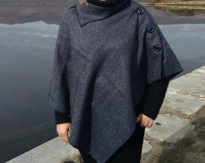 3in1 - Irish tweed wool poncho, cape & shawl-100% wool-blue/navy herringbone - 2 shapes available - ready for shipping  -HANDMADE IN IRELAND