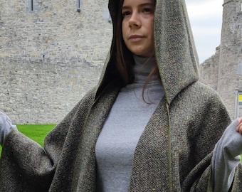 Irish Donegal Tweed Wool Hooded Ruana, Cape, Rectangle Cloak - Speckled Forest Green Herringbone - Mediumweight -Unisex- HANDMADE IN IRELAND