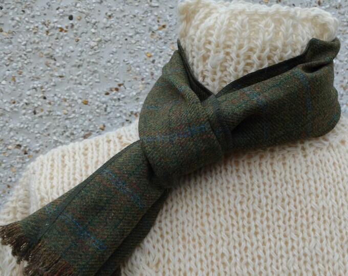Irish tweed scarf - 100% pure new wool-green/yellow-blue/red overcheck-unisex-ready for shipping-neckcloth-neckerchief-Handmade in Ireland