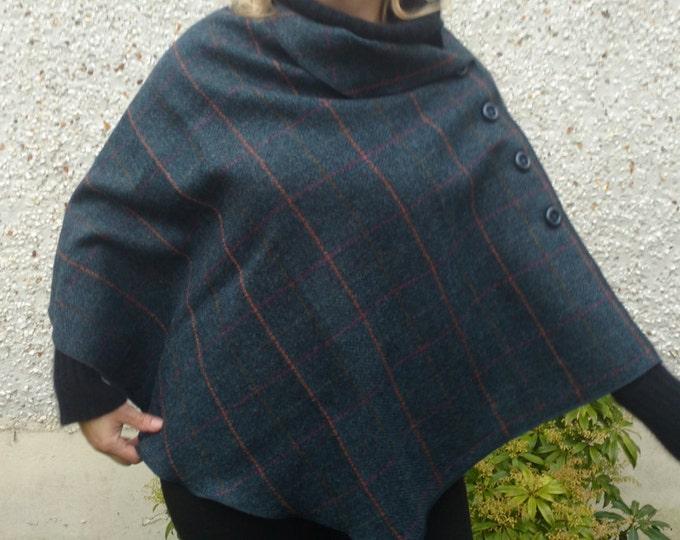 Irish tweed wool poncho, cape & shawl in one piece - navy herringbone with orange/purple/green overcheck - HANDMADE IN IRELAND