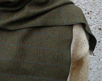 Irish lambswool scarf - green/blue/tobacco red tartan / plaid check - 100% pure new wool - soft - neckerchief - HANDMADE IN IRELAND
