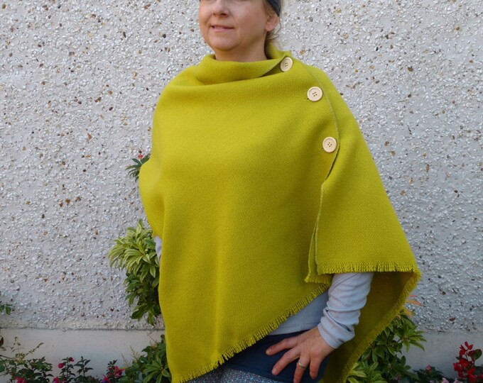 3 in 1 - Irish tweed wool poncho , cape and shawl - lime green - 100% wool -  ready for shipping - HANDMADE IN IRELAND