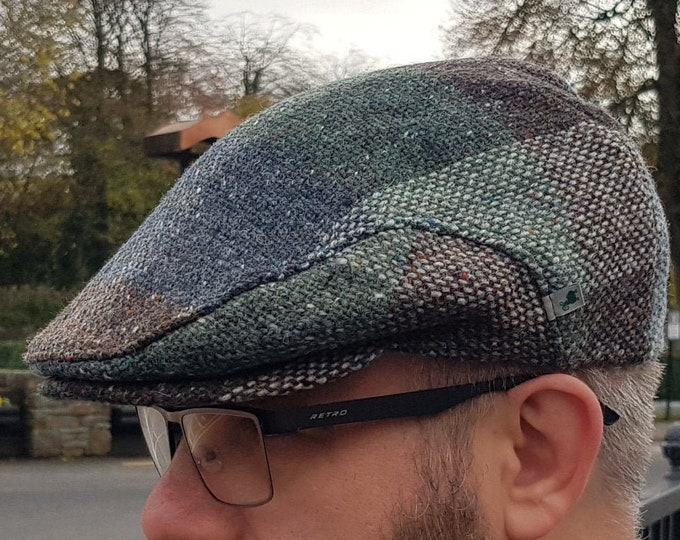Traditional Irish tweed flat cap - brown/green check - 100% wool -padded - ready for shipping -HANDMADE IN IRELAND