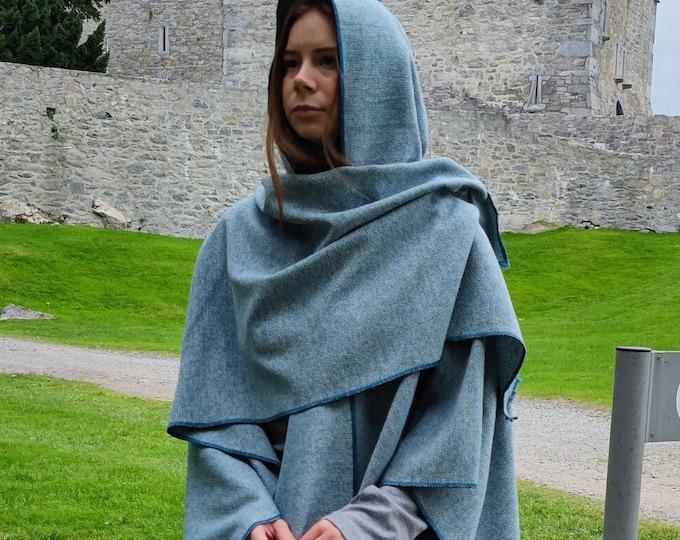 Hooded Irish Lambswool Tweed Cape, Rectangle Cloak, Ruana -Atlantic Teal/White Chevron- 100% Pure New Wool -Lightweight- HANDMADE IN IRELAND