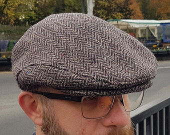 Traditional Irish tweed flat cap - brown herringbone - 100% wool -padded - ready for shipping -HANDMADE IN IRELAND
