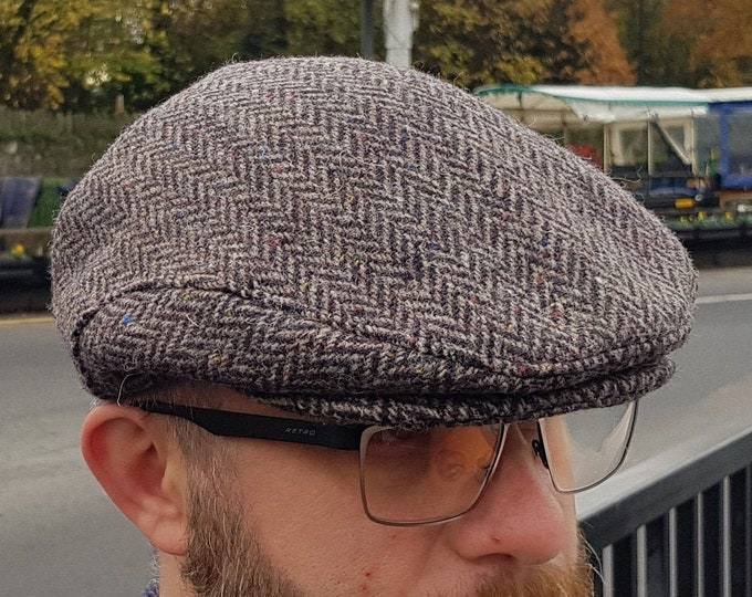 Traditional Irish tweed flat cap - brown herringbone - 100% wool -padded - ready for shipping -HANDMADE IN IRELAND