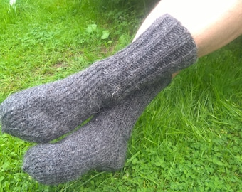 Hand knitted - FREE WORLDWIDE SHIPPING -Gray hiking socks- 100% raw organic wool-undyed-unprocessed -ready for shipping -Handmade in Ireland