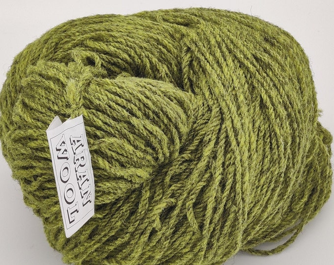 200g/7oz of Authentic Aran Knitting Wool - lime green - 365yards/333.75m  - 100% pure new wool - MADE IN IRELAND