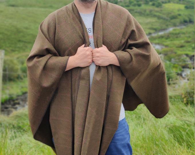 Irish woven wool ruana, cape, wrap, cloak - soft wool -bronze/green with pink bar check - 100% pure new wool  - HANDMADE IN IRELAND