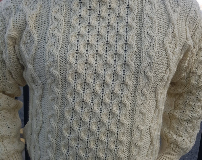 Traditional Aran Sweater - 100% pure new wool - cream - chunky&heavy - MADE IN IRELAND - ready for shipping