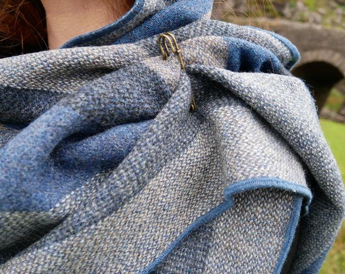 Irish tweed wool shawl, oversized scarf, stole - grey/blue/black stripes - hand fringed - 100% wool  - HANDMADE IN IRELAND