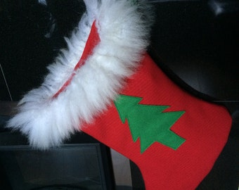 Red Irish tweed Christmas Gift Sock finished using genuine white sheepskin,Holiday Decor - HANDMADE IN IRELAND
