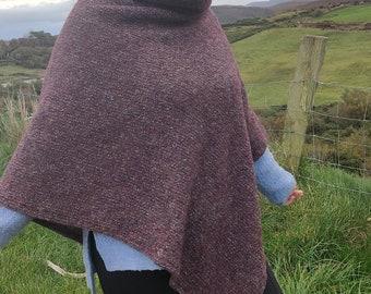 Irish  wool turtleneck poncho - 100% pure new wool - burgundy / grey - loose weave - lightweight - ready for shipping - HANDMADE IN IRELAND