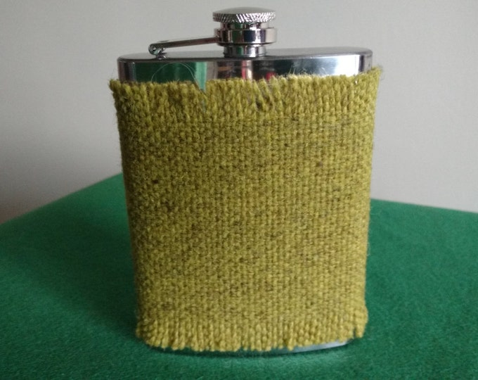 Irish tweed 8oz hip flask cover-FREE WORLDWIDE SHIPPING- groom gift , best man, father of bride - made by me! - Handmade in Ireland