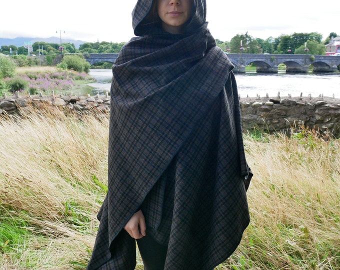 Irish lambswool tweed hooded ruana - hooded wrap - arisaid - grey/black/blue/brown tartan - plaid- soft lambswool - HANDMADE IN IRELAND