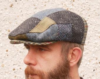 Traditional Irish Flat cap - handcrafted patchwork - Irish tweed - 100% wool - padded - ready for shipping - HANDMADE IN IRELAND