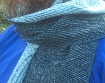 Irish tweed scarf -  100% pure new wool - charcoal/grey reversible - ready for shipping - unisex - Handmade in Ireland