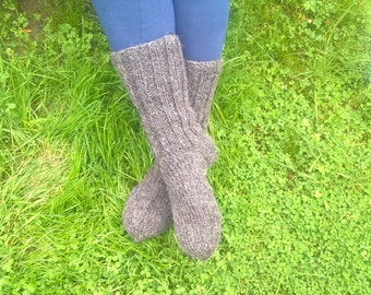 Hand knitted -FREE WORLDWIDE SHIPPING- Gray hiking socks - 100% raw organic wool -undyed -unprocessed-ready for shipping-Handmade in Ireland