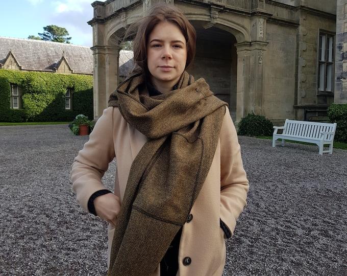 Irish tweed shawl, oversized scarf, stole - brown & bronze herringbone - 100% pure new wool - hand fringed - HANDMADE IN IRELAND
