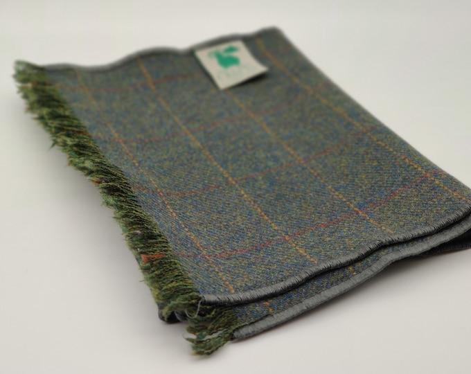 Irish lambswool scarf - 100% pure new wool - green with yellow/burgundy check - really soft - perfect gift - HANDMADE IN IRELAND