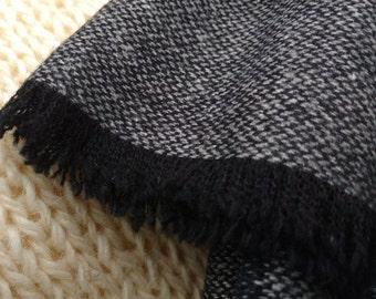 Irish lambswool scarf - 100% pure new wool -black & gray chevron -unisex - neckcloth - neckerchief - HANDMADE IN IRELAND