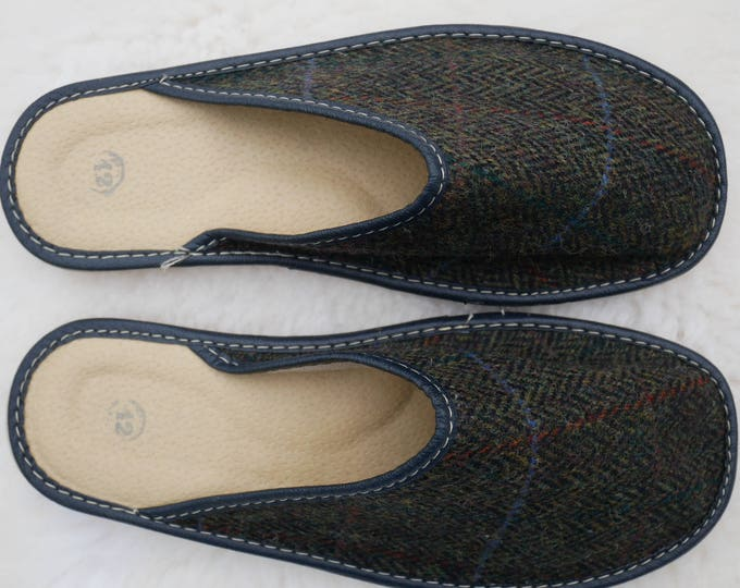 Irish Tweed & genuine leather slippers - with durable sole - moss green herringbone/overcheck - ready for shipping - MADE IN IRELAND