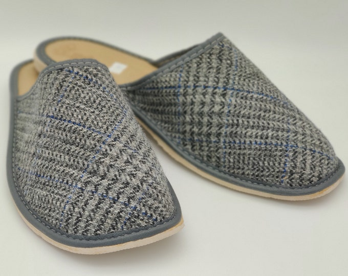 Gents Irish Tweed Slippers - grey tartan / plaid / check  - ready for shipping - MADE IN IRELAND