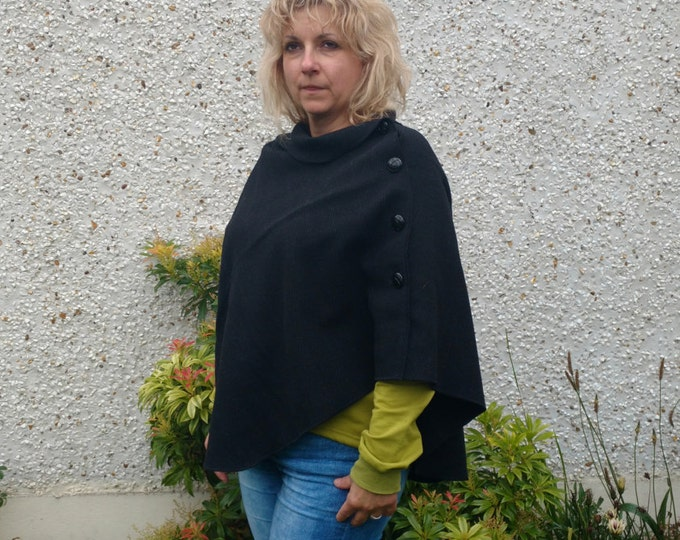 3in1 - Irish tweed wool poncho , cape & shawl - versatile - black-rounded shape-ready for shipping - HANDMADE IN IRELAND