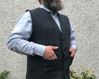 Traditional Irish 100% wool tweed waistcoat -FREE WORLDWIDE SHIPPING- navy&blue herringbone/overcheck - ready for shipping - Made in Ireland