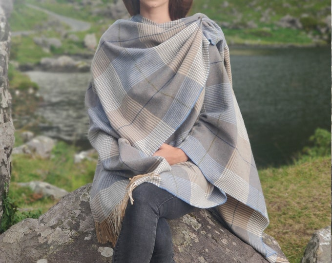 Irish Pure Lambswool Cape, Ruana, Wrap , Shawl - 100% Pure New Wool - beige/blue check - supersoft - one size fits all - HANDMADE IN IRELAND